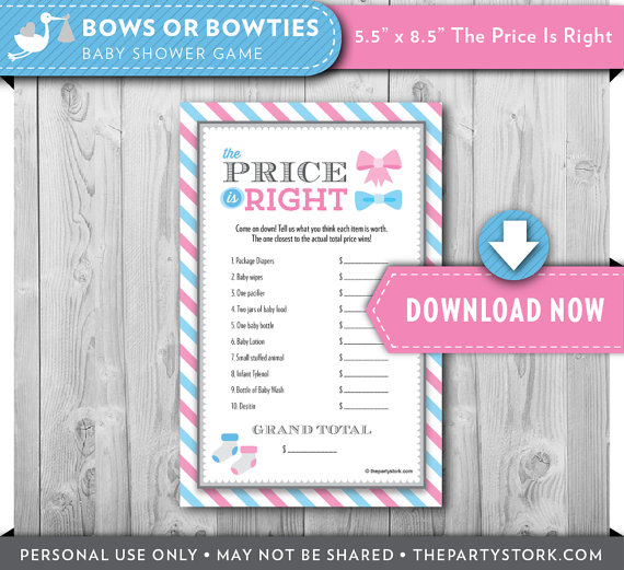 Printable Baby Shower Game Price Is Right Gender Reveal Theme