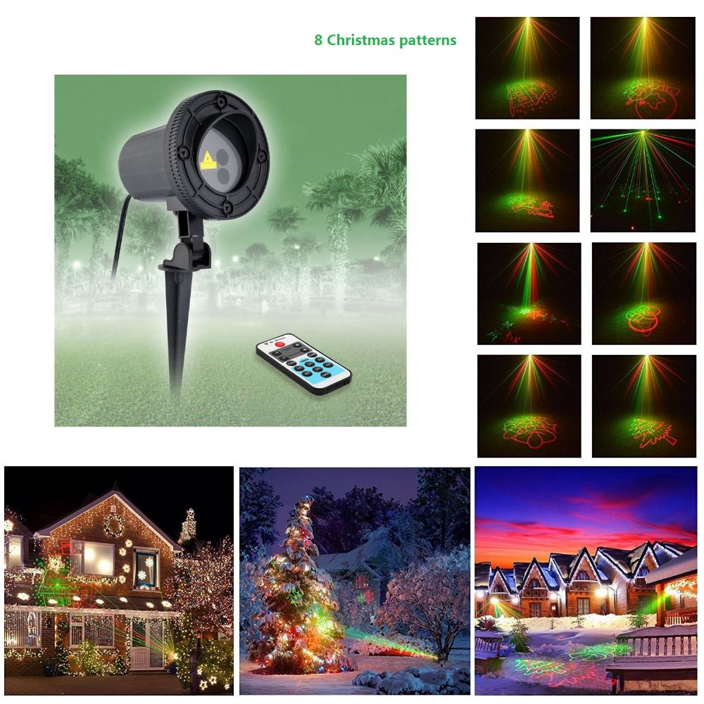 Laser Projector Star Remote 8 Christmas Patterns Shower Outdoor Waterproof RG  Garden Holiday Christmas Tree Red