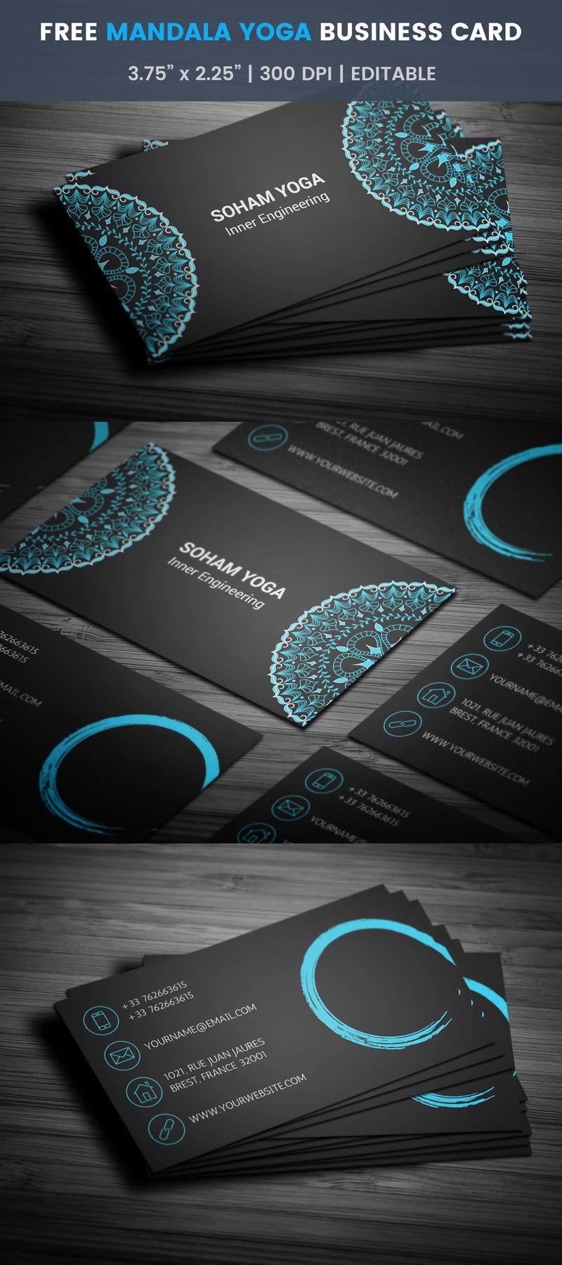 Free Mandala Yoga Business Card Template East Meditation Zen Printing Business Cards Free Business Card Templates Business Cards