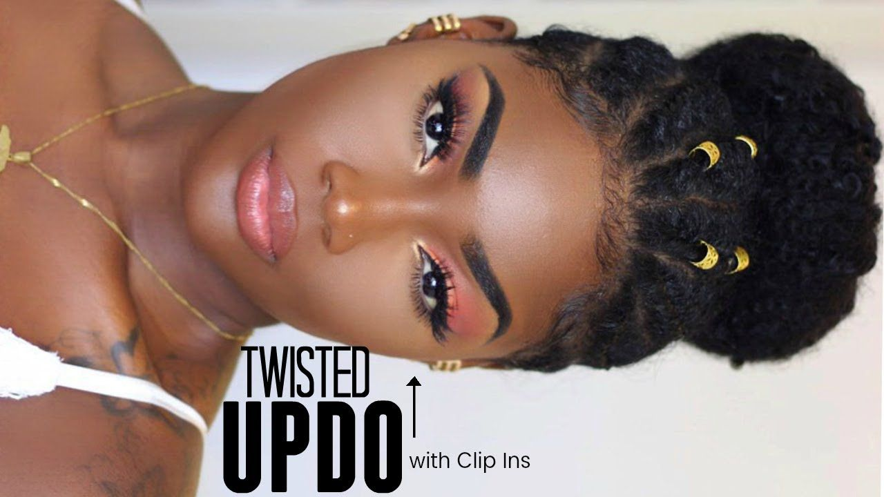 Easy natural hair updo with twists covering bald patch video in