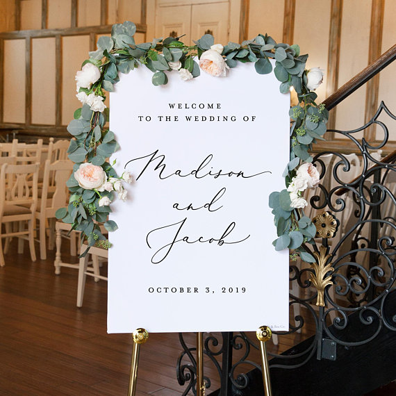 Welcome Wedding Sign Template Printable Greenery Wedding Sign Etsy Wedding Welcome Signs Welcome To Our Wedding Wedding Posters