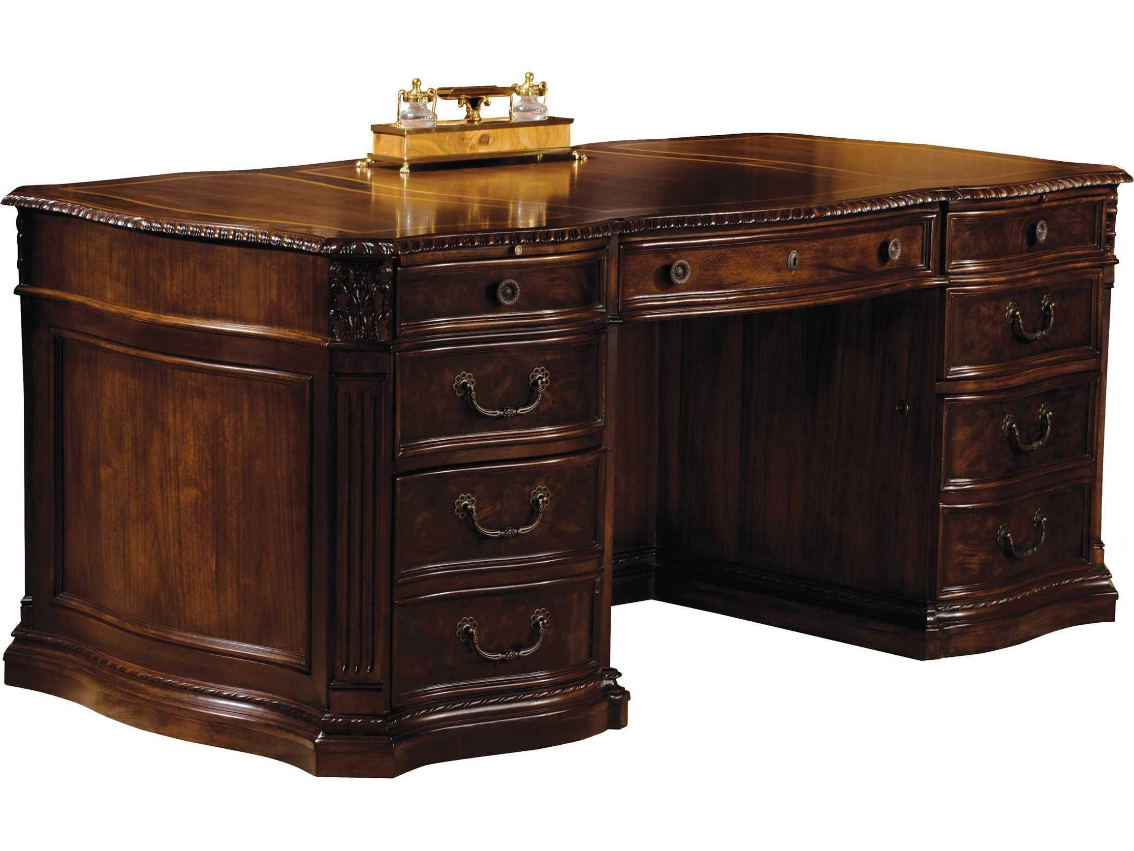 Hekman Office 72 X 36 Executive Desk In Old World Walnut Burl