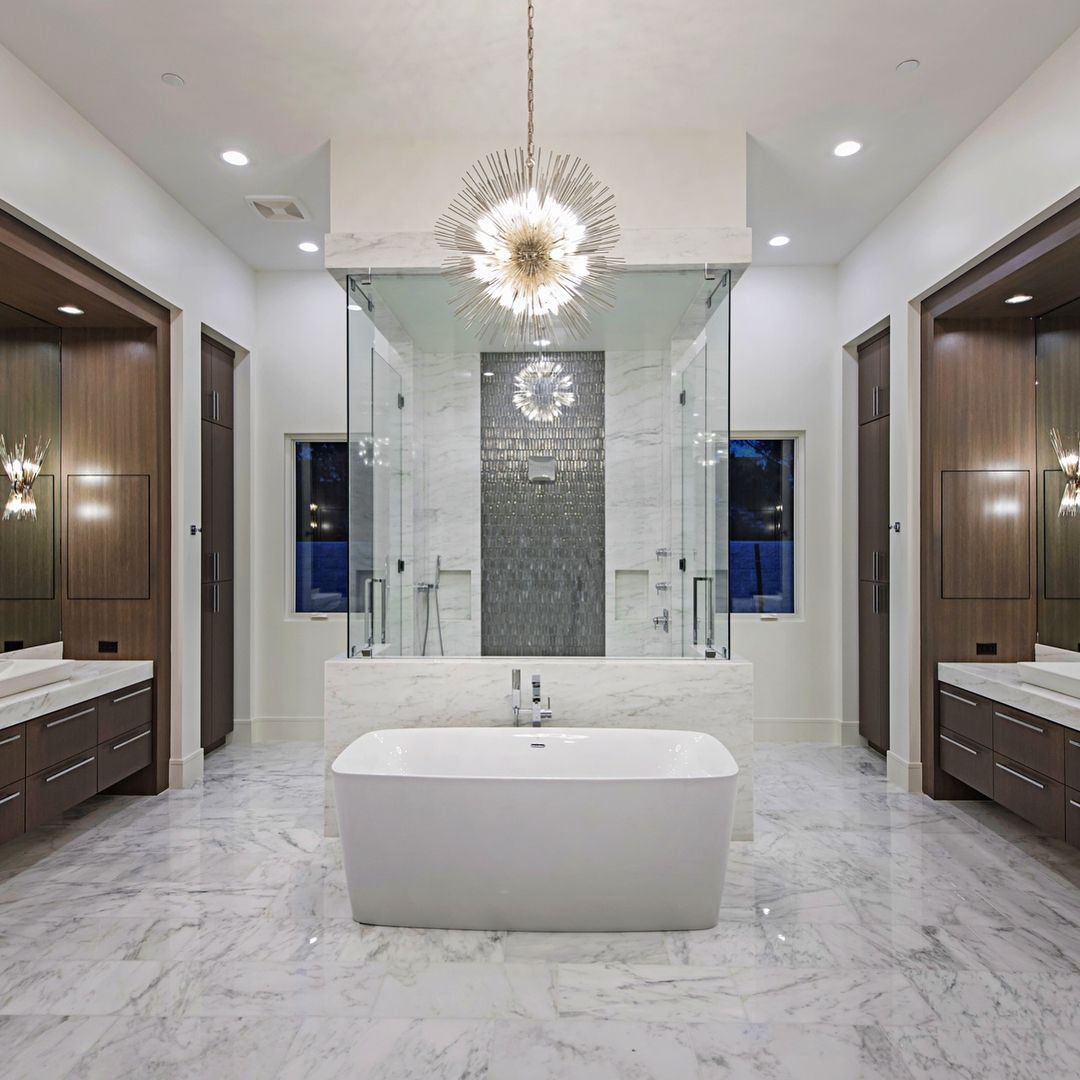 Master Bath And Closet The Kellywearstler Lighting From Visualcomfortco Were The Perfec Luxury Master Bathrooms Luxury Bathroom Luxury Bathroom Master Baths Upscale master bathrooms upscale