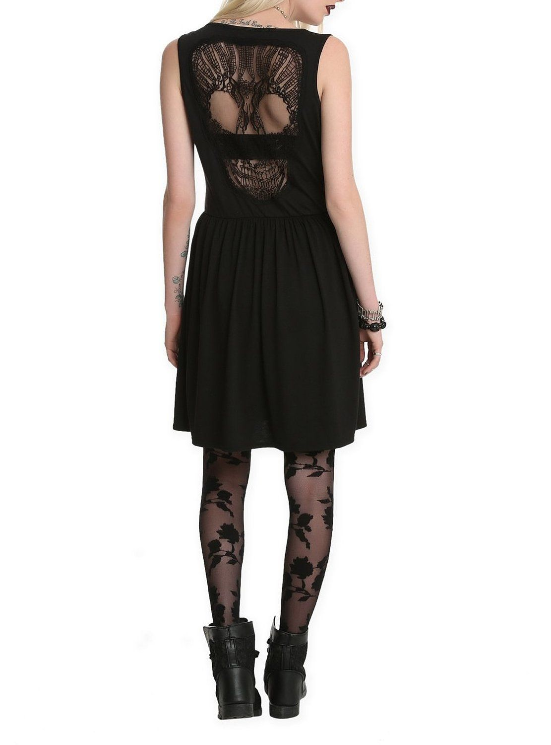 Black lace skull applique dress at amazon womens clothing