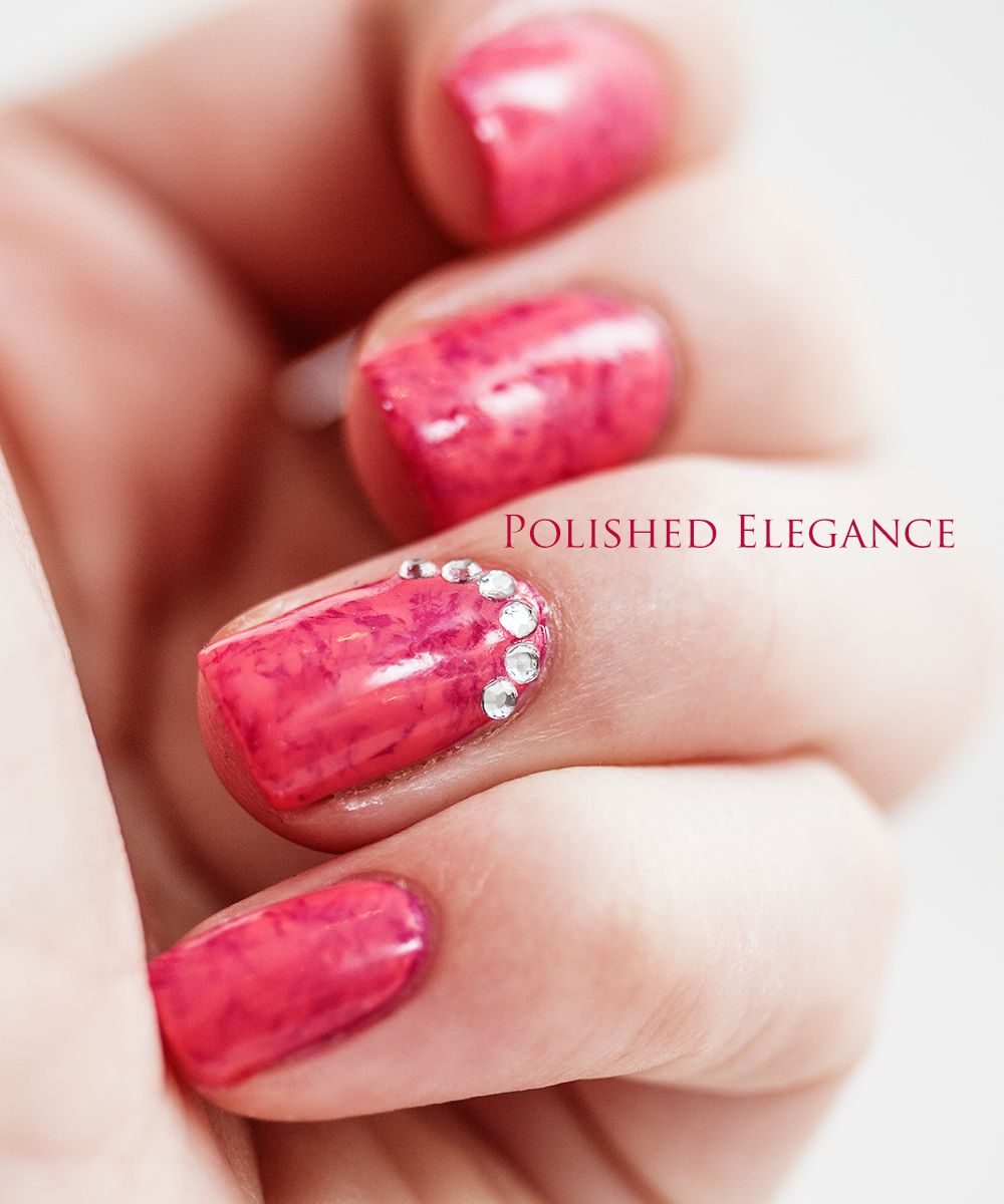 Pink saran wrap manicure Essie Bachelorette Bash and Carousel Coral ...