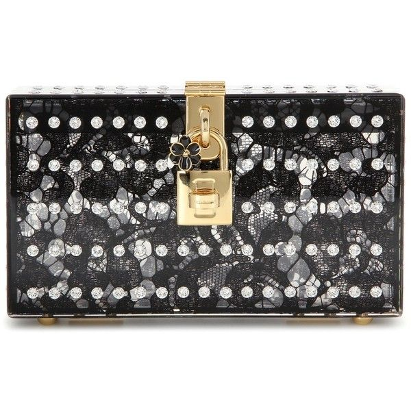 Dolce & Gabbana Dolce Embellished Box Clutch (7.110 BRL) ❤ liked on Polyvore featuring bags, handbags, clutches, black, black box clutch, black handbags, black clutches, embellished handbags and black purse