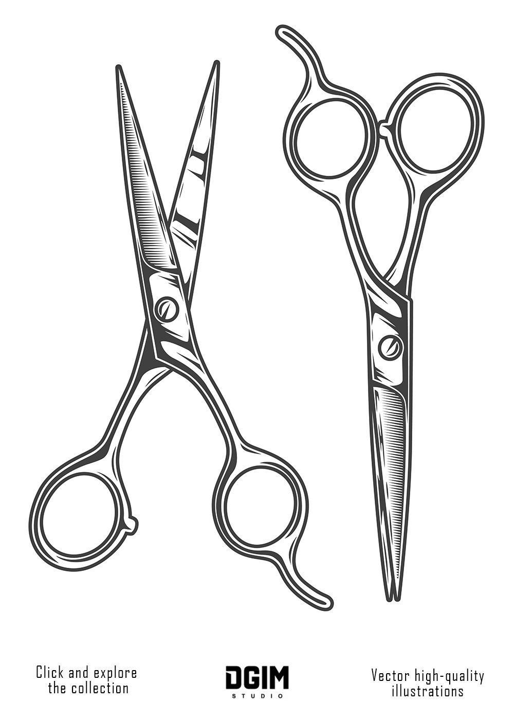 Hair Cutting Scissors Vector 43