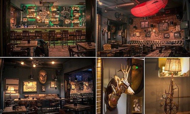 Furnished with copper pipes and exposed mechanical gears, Joben Bistro looks like a space pulled straight from the pages of a Jules Verne or H.G. Wells novel.
