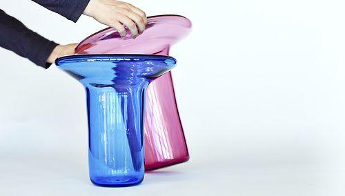 'Blast' blown glass table by Marius Myking