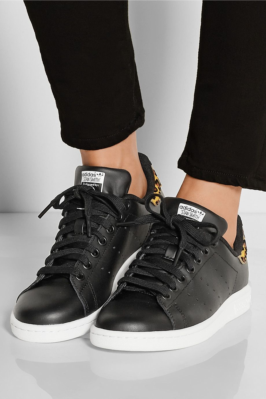 adidas Originals | Stan Smith leopard print trimmed leather