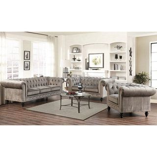 Shop for Abbyson Grand Chesterfield Grey Velvet 3-piece Sofa, Loveseat, and Armchair. Get free delivery at Overstock.com - Your Online Furniture Shop! Get 5% in rewards with Club O! - 18716184