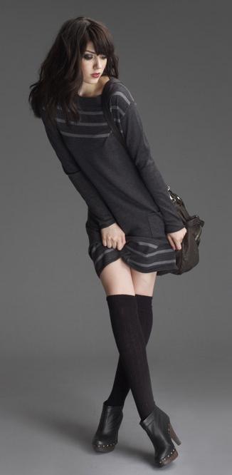 black dress knee high socks