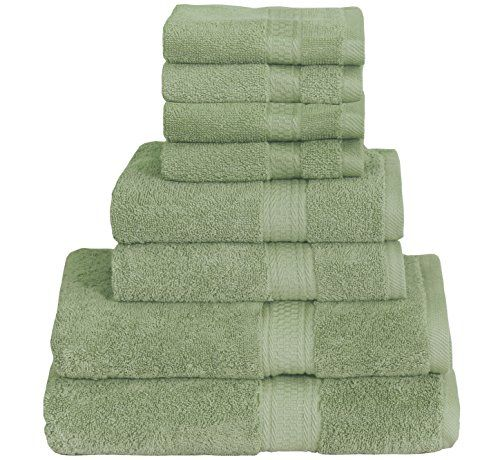 Utopia Towels Premium 8 Piece Towel Set 2 Bath Towels Grey 2 Hand Towels and