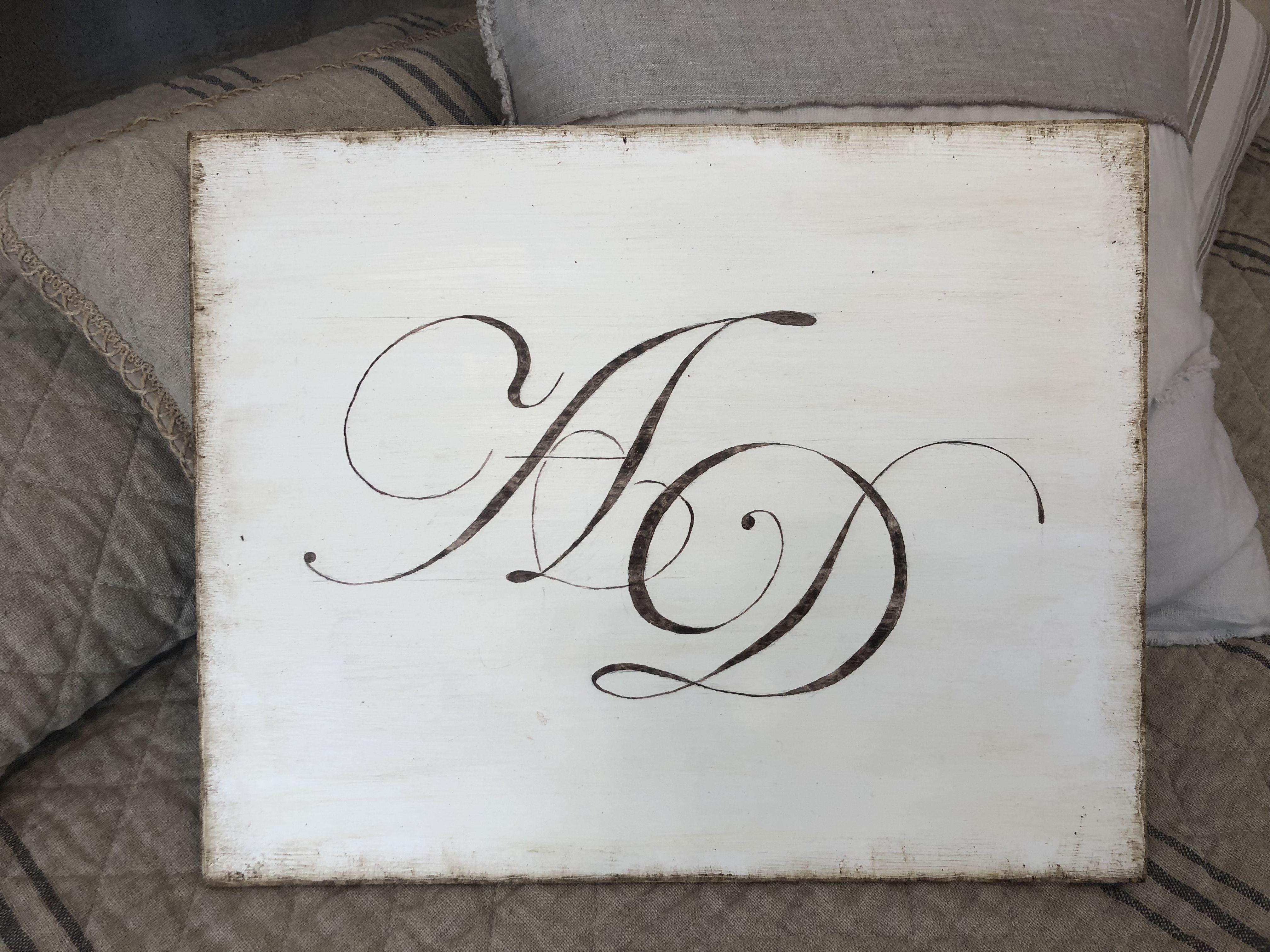 Decorazioni Lettere D Amore quadro con monogramma, dipinto a mano su legno a e d