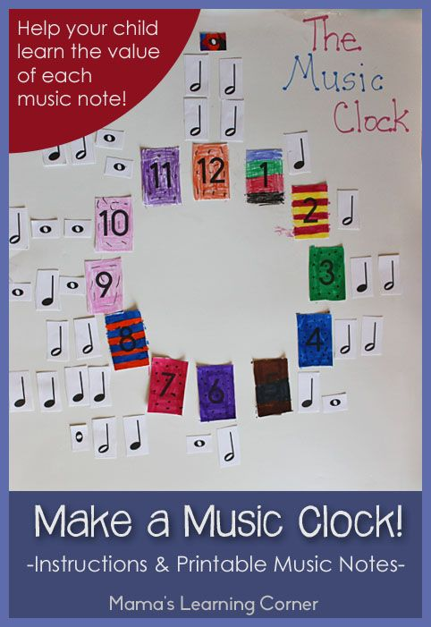 Make a Music Clock! Includes instructions and free printable music notes. This could be a center activity!!