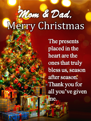 Christmas Tree Card For Parents Birthday Greeting Cards By Davia Christmas Mom Christmas Tree Cards Christmas Card Sayings