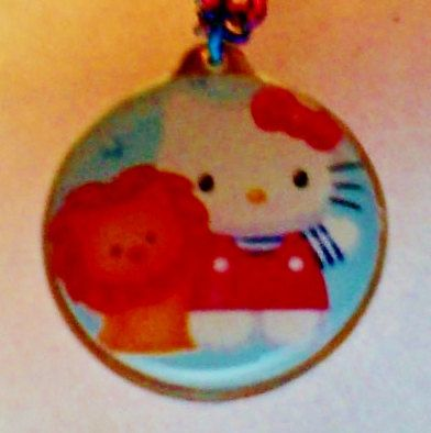 Hello Kitty Necklace with Rainbow Chain by PamelaMonetCreations, $7.50