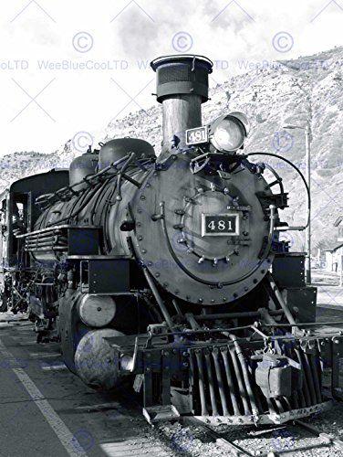 PHOTOGRAPH BLACK WHITE TRAIN STEAM ENGINE FRONT FINE ART