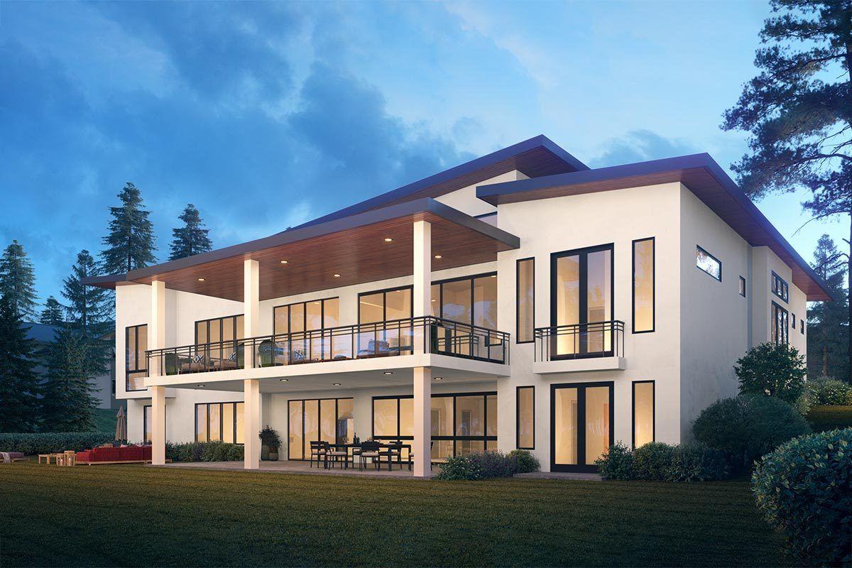 Plan 666092raf Spacious Contemporary House Plan With Wood Workshop Contemporary House Plans House Plans Contemporary House