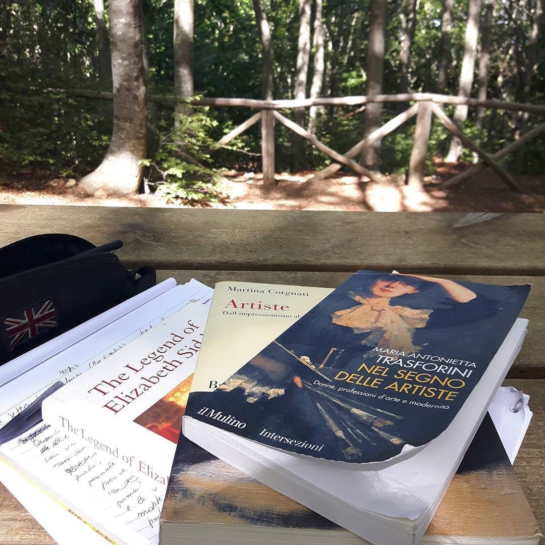 Studying in the mountains (getting out of the heat) . . #studying #books #woods #montains #italy #artiste #igerstoscana #igersvaldarno  #pratomagnomountains #pratomagno