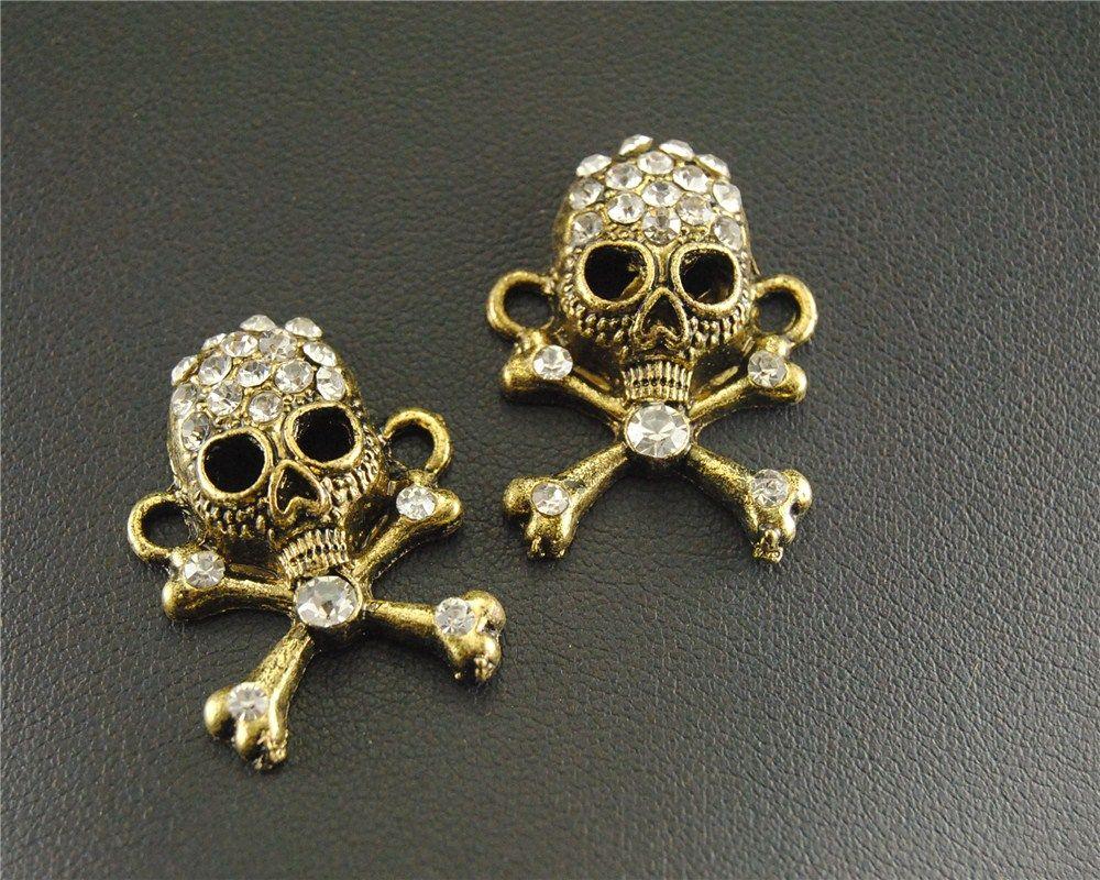 $3.35 / 5 pcs Vintage Bronze Rhinestone Skull Charm Connector DIY Metal Bracelet Necklace Jewelry