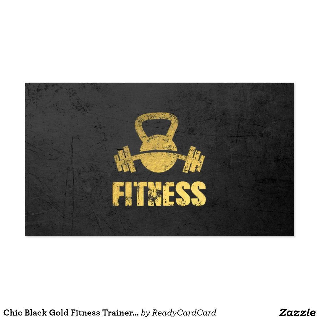 Chic Black Gold Fitness Trainer Kettlebell Barbell Business Card ...