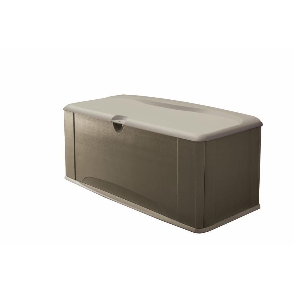 Rubbermaid 120 Gal Resin Deck Box With Seat 2047052 The Home Depot Rubbermaid Outdoor Storage Deck Box Storage Outdoor Storage Boxes