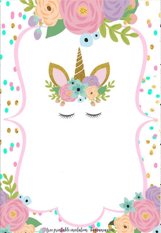 graphic about Free Printable Unicorn Template named Totally free Unicorn Invitation Templates - Fresh new Free of charge Printable