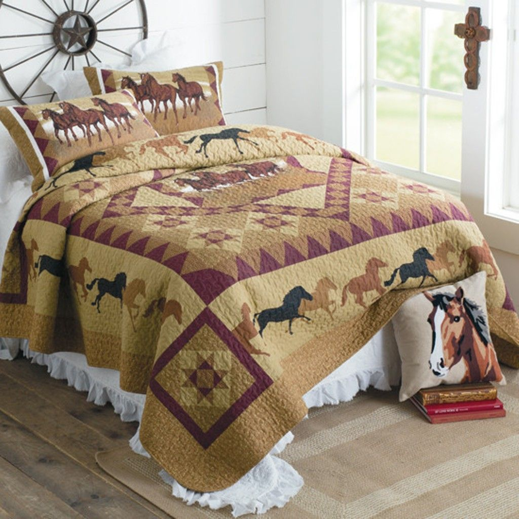 Horse Country Cowboy Quilt Set Country quilt sets
