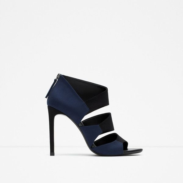 7b366978dd546b Zara High-Heel Two-Tone Sandals (110 NZD) ❤ liked on Polyvore featuring  shoes