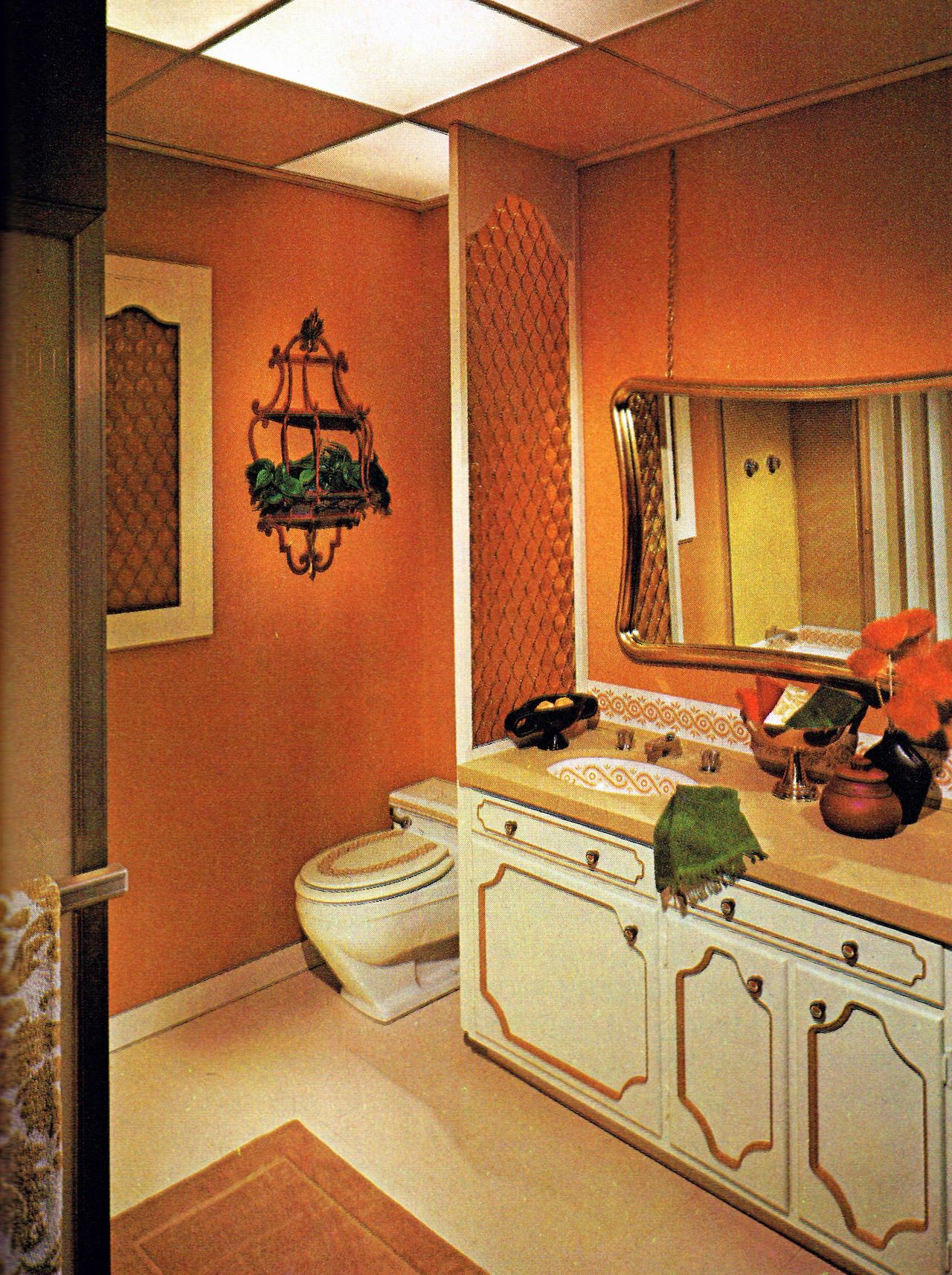 Retro Home Design Early 1970 39s Bathroom See Cabinetry Painting 70s