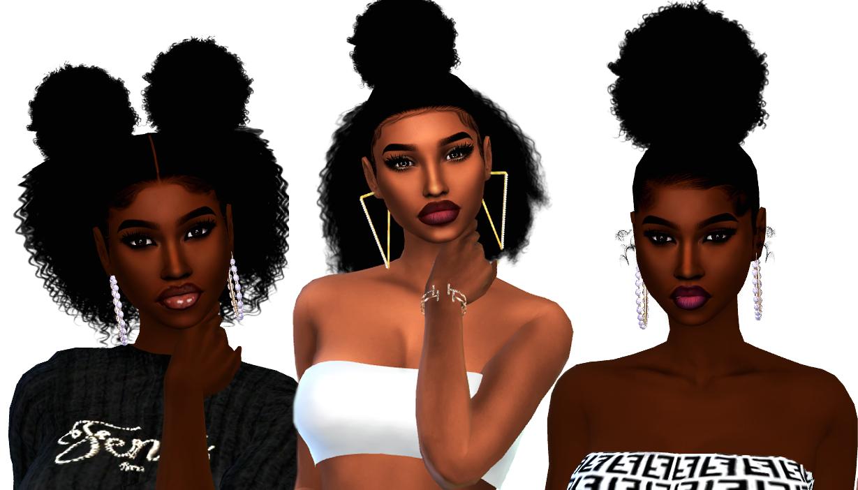 3 Curly Puffs Hairstyles For Female Sims Sims 4 Black Hair Sims 4 Curly Hair Sims 4