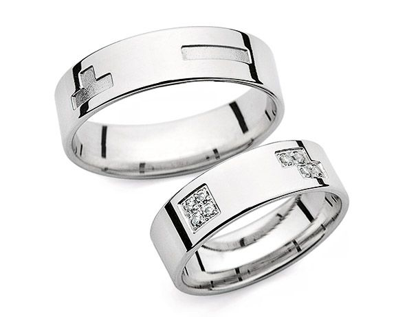 P 6384 Love Line wedding rings in white gold with diamonds