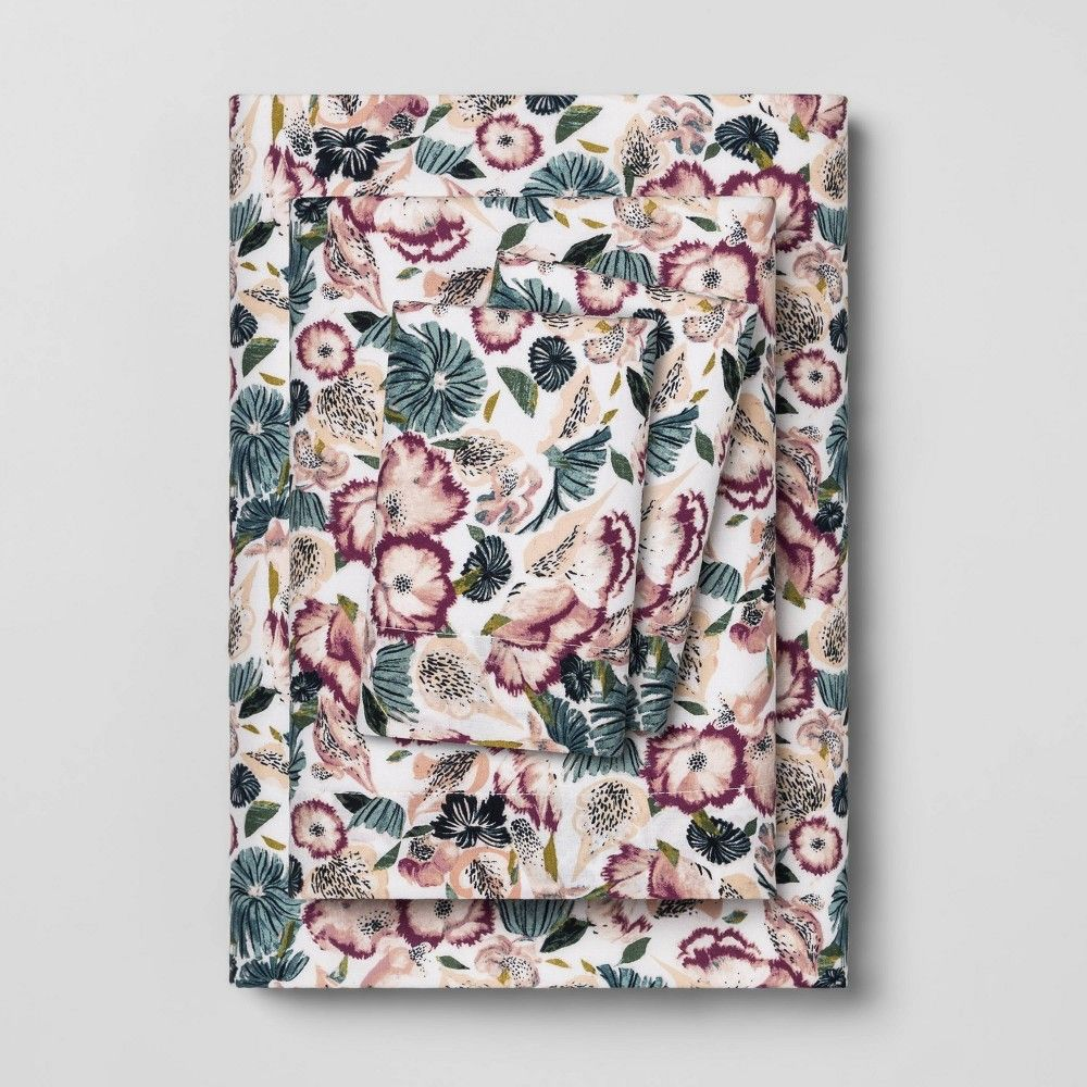 Full printed pattern easy care percale cotton sheet set