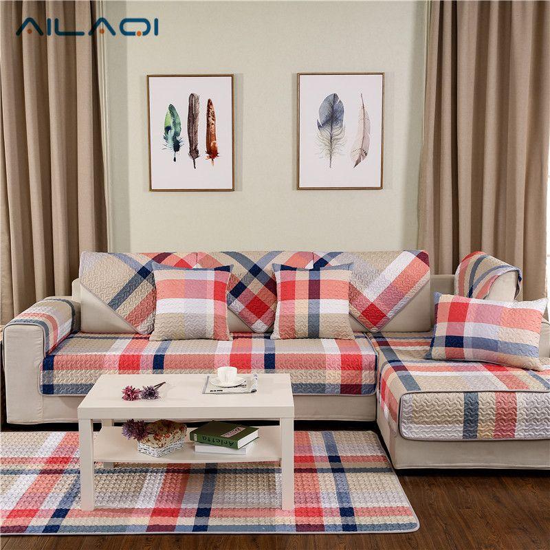 Ailaqi Modern Stripe Non Slip Sofa Couch Covers Creative Design Cotton Sofa Cover For Living Room Sofa Cotton Couch Covers Couch