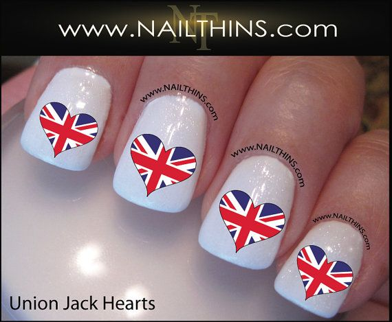 British Nail Decal Union Jack Flag Heart Nail Art Nailthins Union