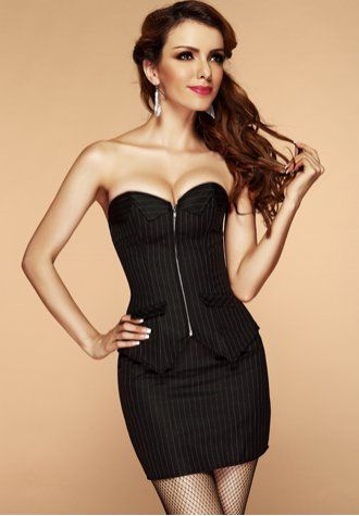 board room babe pinstripe corset smart dress