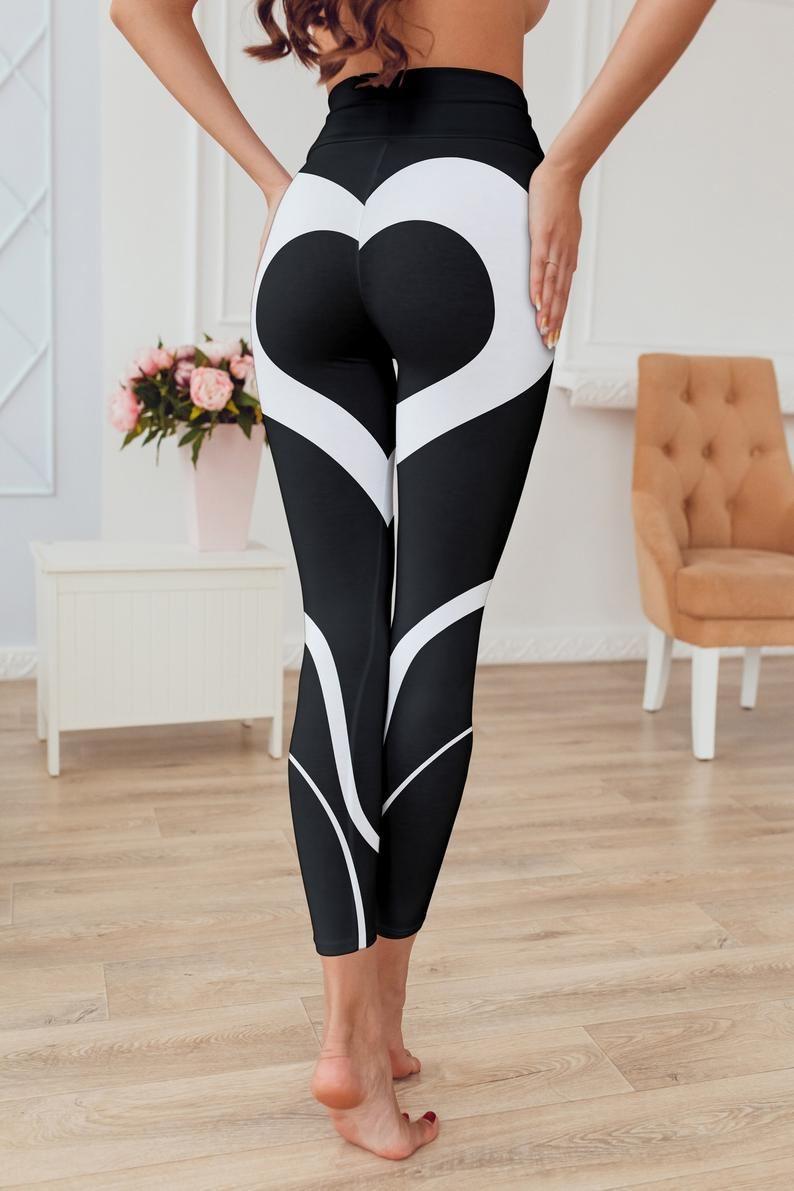 59c9e217bdd1b Black Heart Shaped White Leggings. I love these beautiful black yoga pants!  Yoga fashion