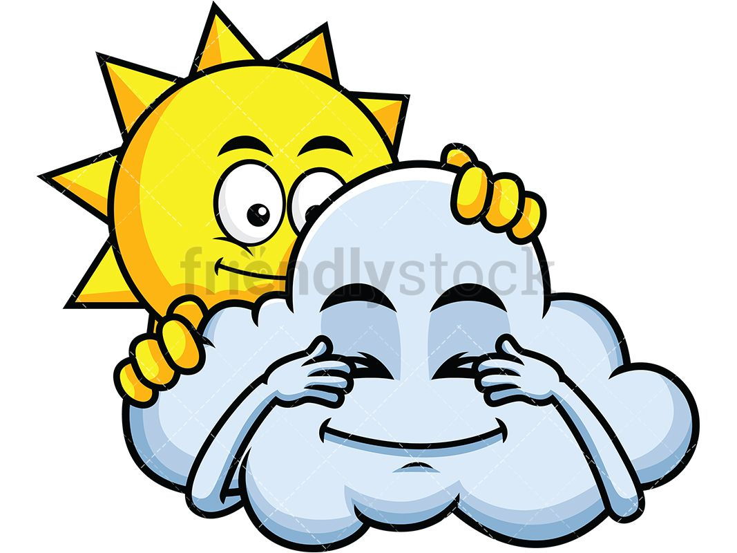 Sun And Cloud Playing Hide And Seek Emoji Cartoon Clipart Friendlystock Cartoon Clip Art Sun And Clouds Cartoon