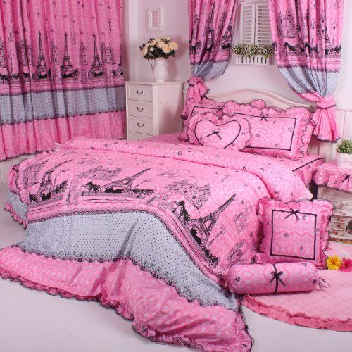 cliab eiffel tower bedding pink paris bedding with bed skirt duvet cover set twin full queen. Black Bedroom Furniture Sets. Home Design Ideas