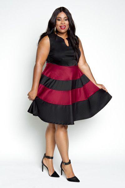 Plus Size Clothing for Women - Jessica Kane Plus Size Skater Dress - Black/Marsala (Sizes 14 - 32) - Society+ - Society Plus - Buy Online Now!