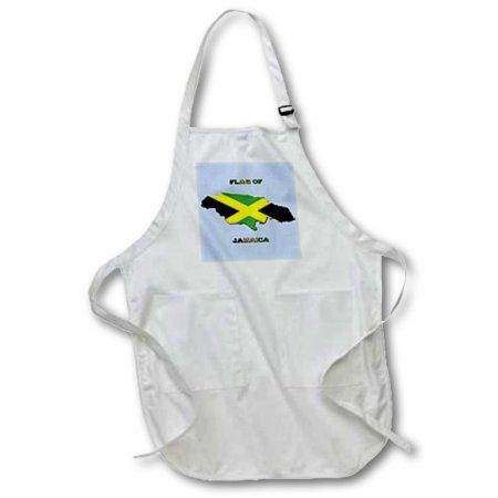 3dRose Flag of Jamaica Map, Full Length Apron, 22 by 30-inch, White, With Pockets