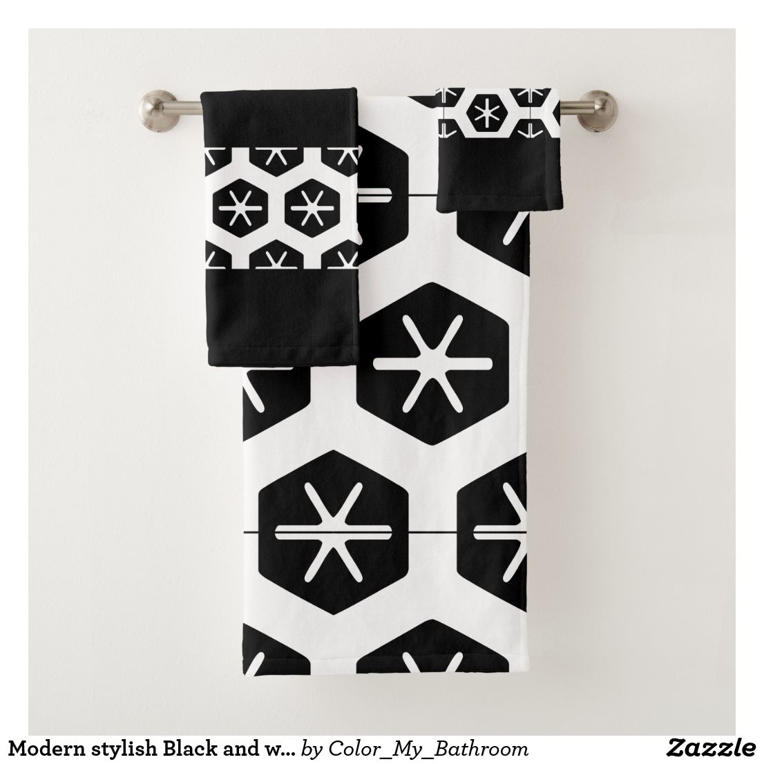 Modern Stylish Black And White Bathroom Bath Towel Set Zazzle
