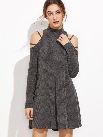 27939cc87eac Vestido acanalado con hombros al aire - gris | Moda | Vestidos ...