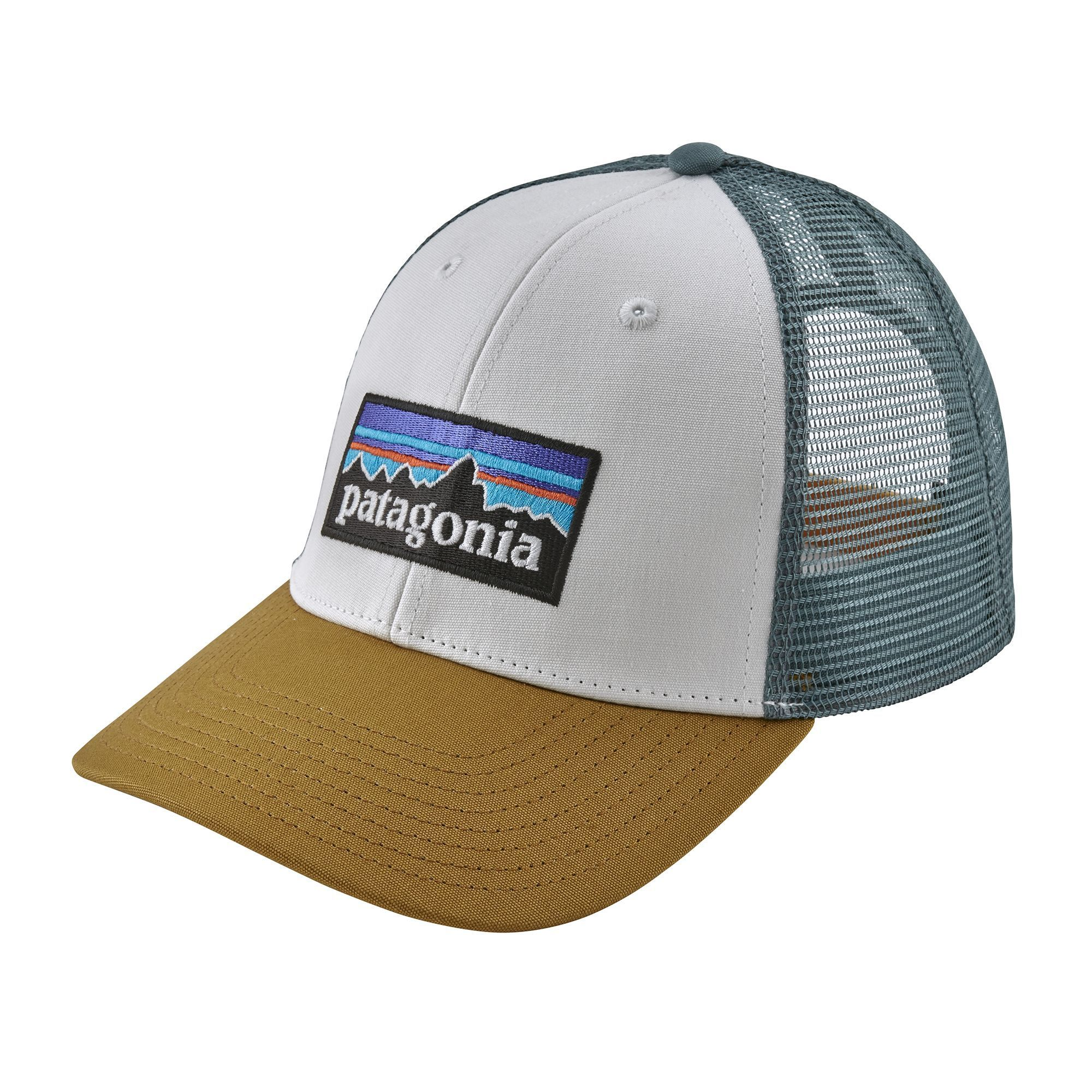 44fa16f2 Patagonia White Kastanos Brown P-6 Logo LoPro Trucker Hat | Products ...