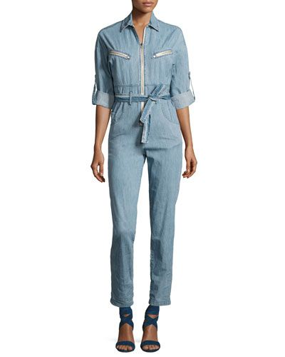 e1477b7e920 Shop Polly Zip-Front Chambray Jumpsuit