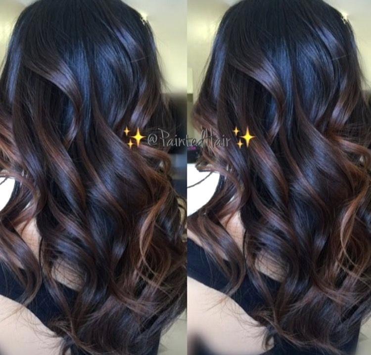 Dark Hair With Highlights And Lowlights Per Dark Hair Dark Brown Hair Caramel Highlights Red Lowlights Balayage Hair Dark Balayage Hair Hair Color Balayage