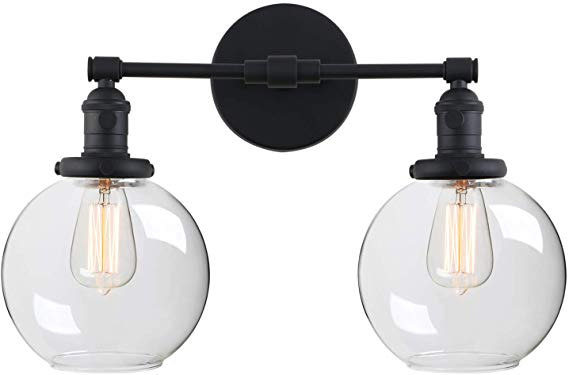 Phansthy 2 Lights Wall Sconce Matte Black Vanity Light Fixture With Dual 7 9 Inc In 2020 Black Vanity Light Farmhouse Vanity Lights Vanity Light Fixtures