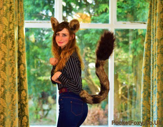 Animal Ears And Tail Dark Brown Luxury Long Fur Animal Fancy Dress Costume Set