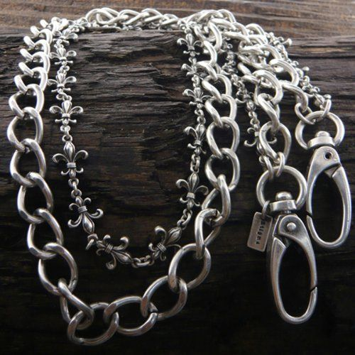 Amazon.com: Silver Stainless Steel Women or Mens Jean Fleur De Lis Chain. Mens Stainless Steel Jeans Chain - Multi Row. Size: 30 Inch Long.:...